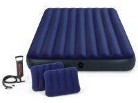 Матрас-велюр синий(152х203х22) +2 подушки+насос